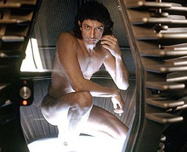 Jeff Goldblum in una sequenza del film La mosca