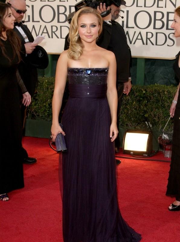 Hayden Panettiere, la giovane protagonista di Heroes, sul tappeto rosso dei Golden Globes 2009