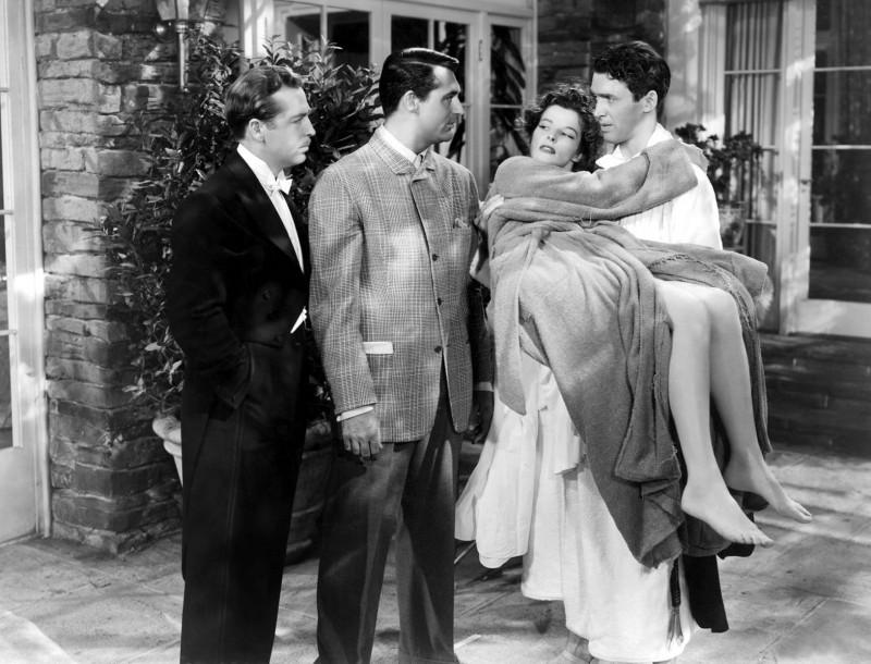 John Howard, Cary Grant, Katharine Hepburn e James Stewart nel film Scandalo a Filadelfia