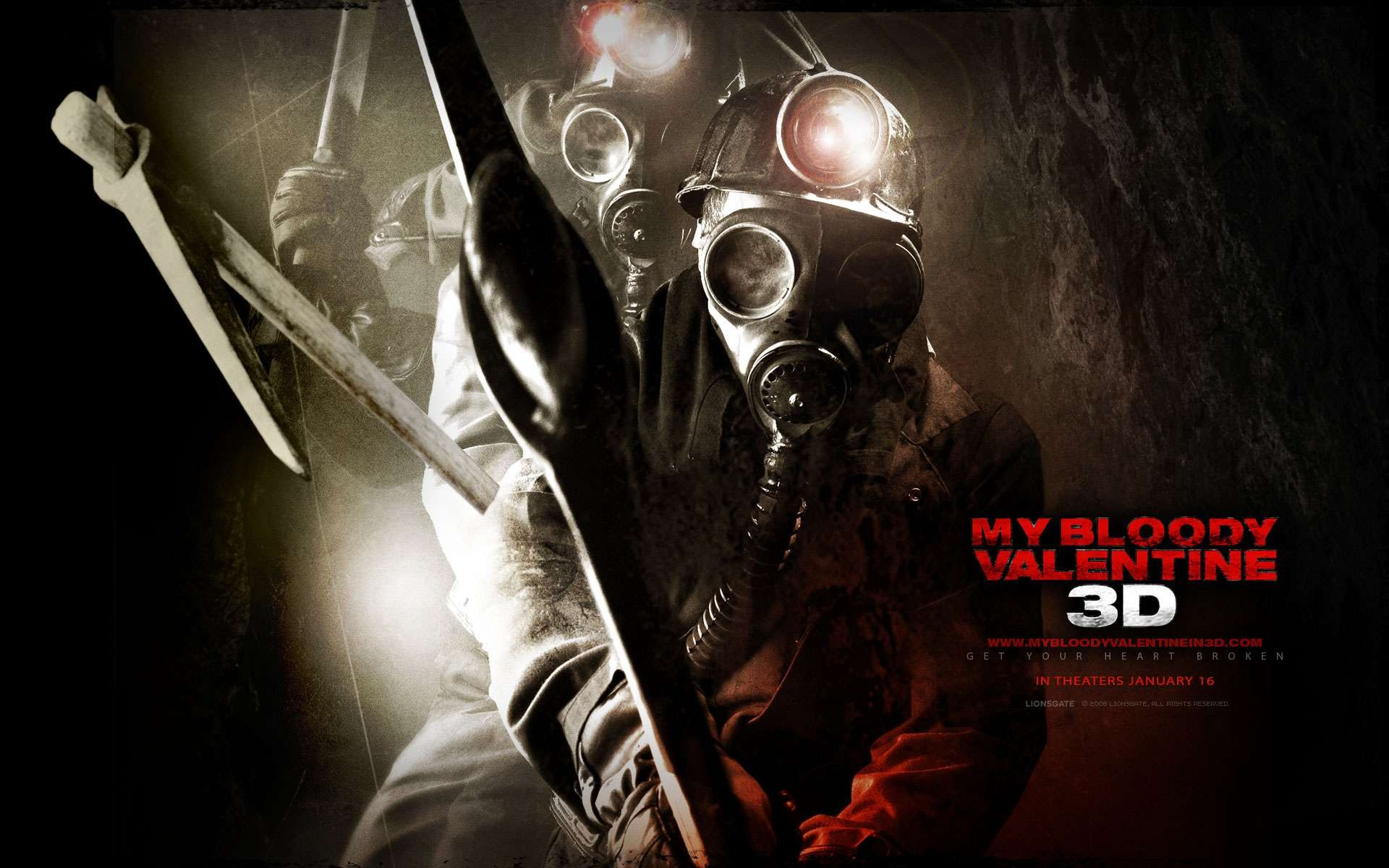Un wallpaper del film My Bloody Valentine 3D