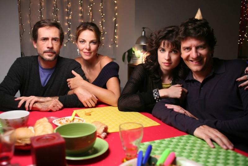 Gianmarco Tognazzi, Claudia Gerini, Cécile Cassel e Fabio De Luigi sul set del film Ex