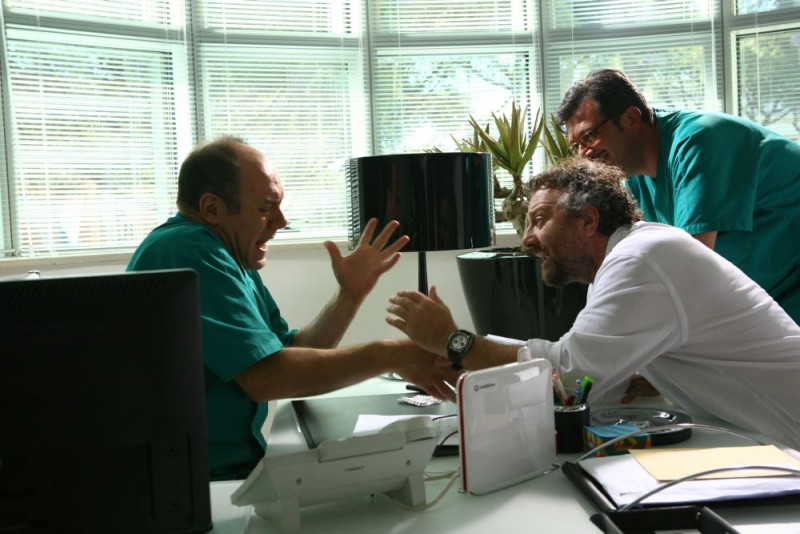 Carlo Verdone e Giovanni Veronesi sul set del film Italians