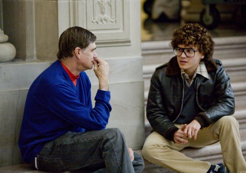 Il regista Gus Van Sant ed Emile Hirsch sul set del film Milk