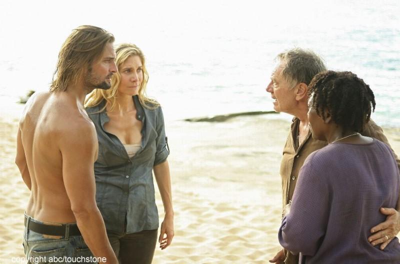 Sam Anderson, L. Scott Caldwell, Josh Holloway ed Elizabeth Mitchell nell'episodio The Lie di Lost