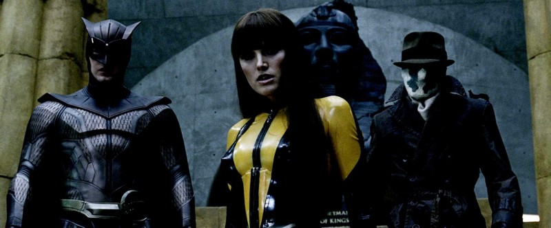 Patrick Wilson, Malin Akerman e Jackie Earle Haley in una scena del film Watchmen