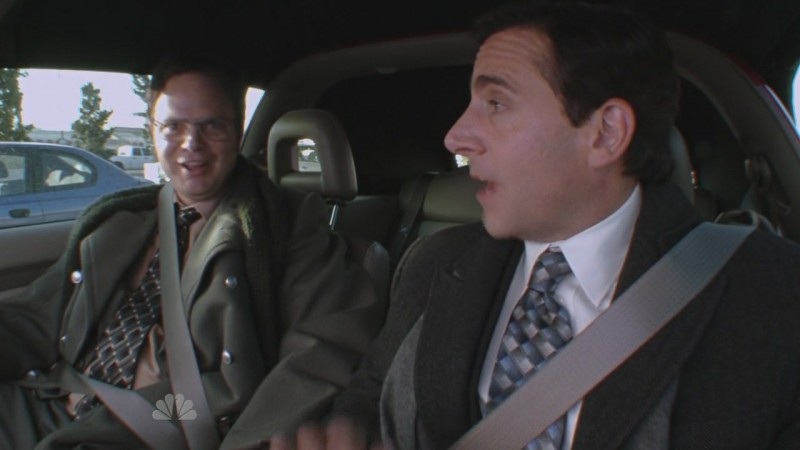Steve Carell e Rainn Wilson in una scena dell'episodio Prince Family Paper di The Office