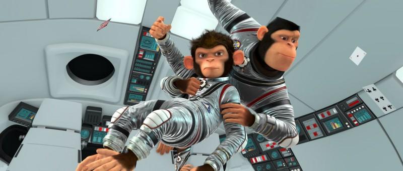 Comet e Titan in una scena del film Space Chimps