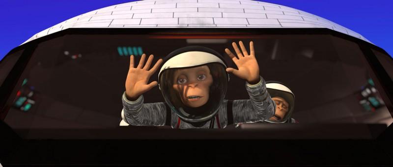 Un'immagine del film d'animazione Space Chimps