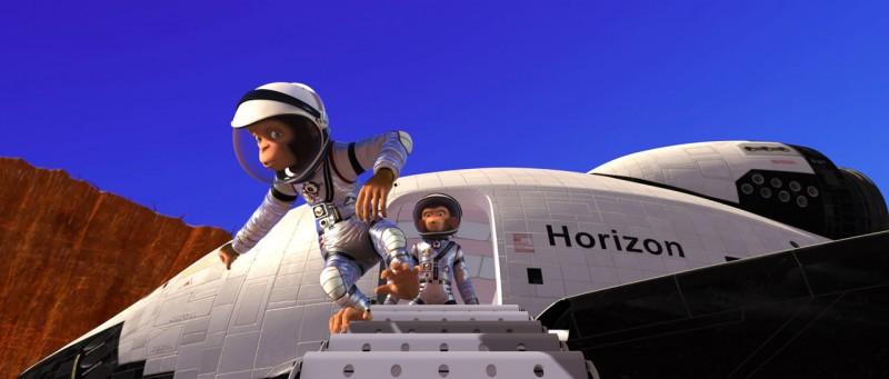 Un'immagine tratta dal film d'animazione Space Chimps