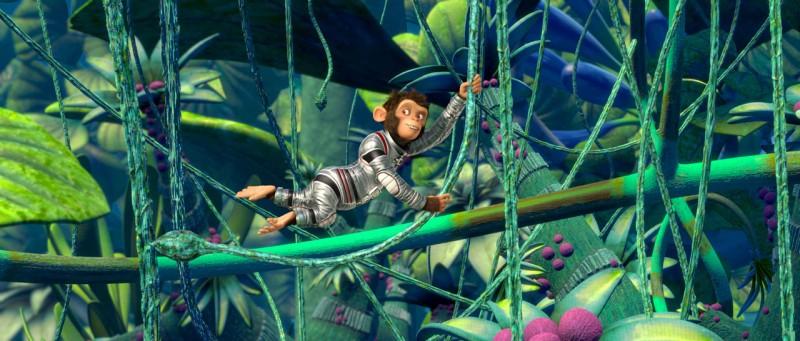 Una scena del film d'animazione Space Chimps