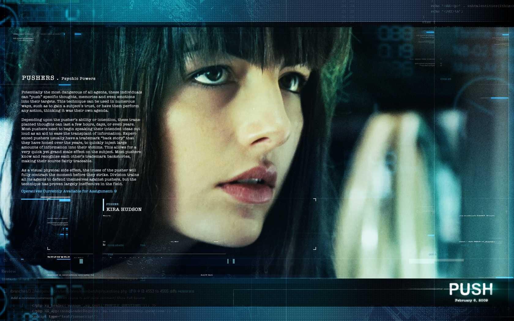 Un wallpaper del film Push con Camilla Belle