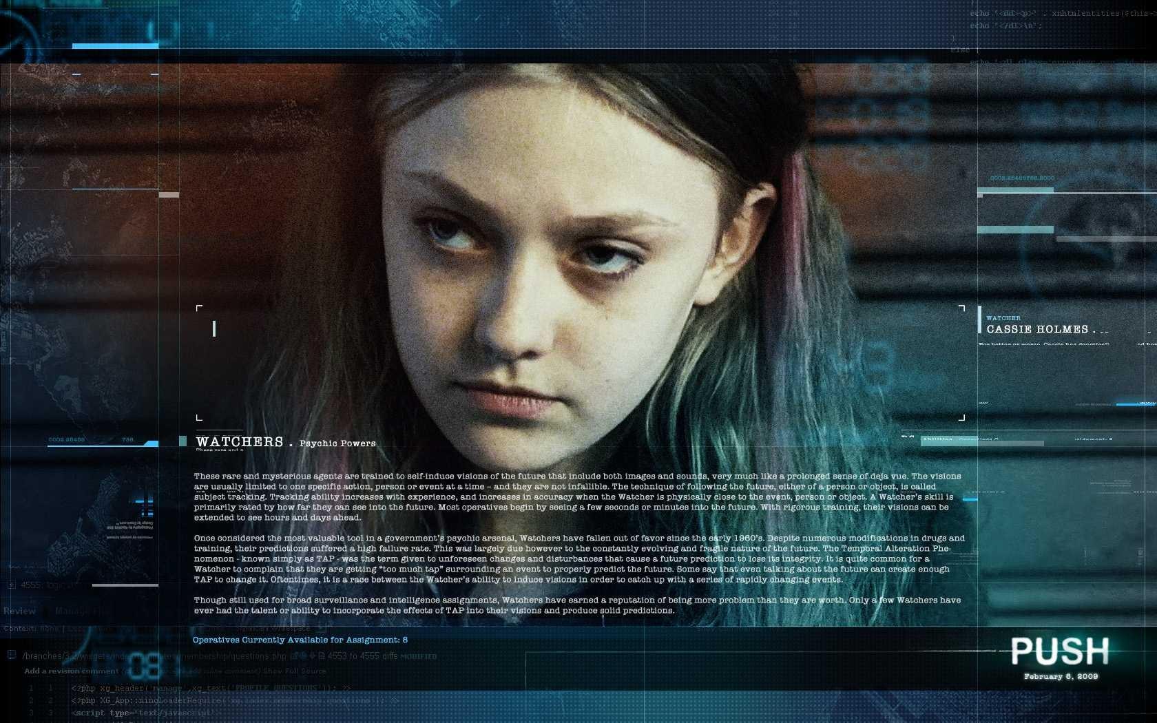 Un wallpaper del film Push con Dakota Fanning