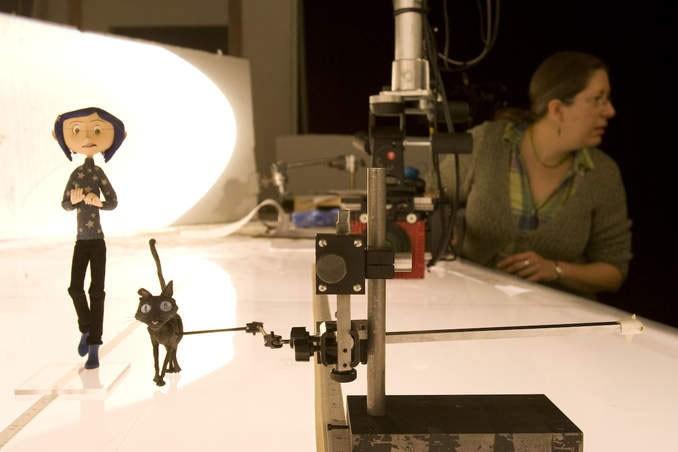 Una foto scattata durante la lavorazione del film Coraline e la porta magica