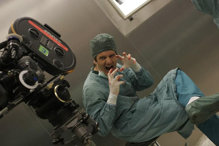 Fabio De Luigi sul set del film Ex