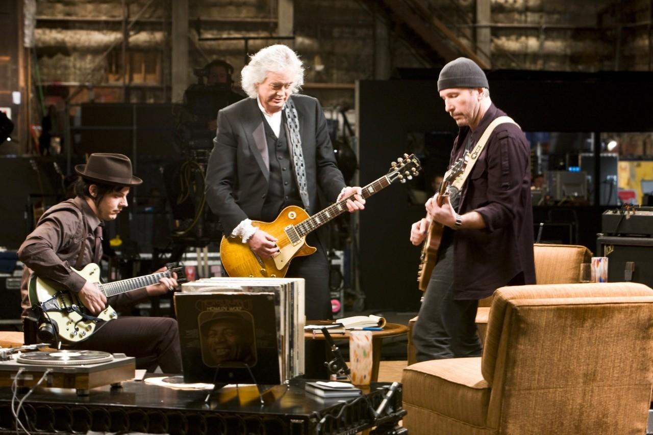 Wallpaper di The Edge, Jimmy Page e Jack White nel film It Might Get Loud