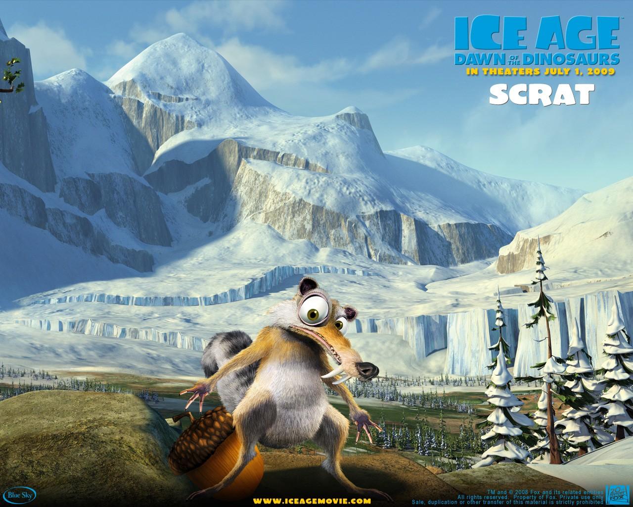 Un wallpaper del film  L'era glaciale 3 - L'alba dei dinosauri - Scrat