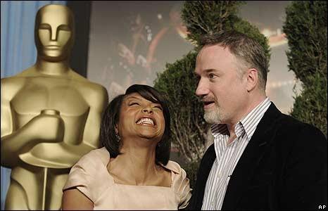 Taraji P. Henson e David Fincher all'Oscar Luncheon 2009