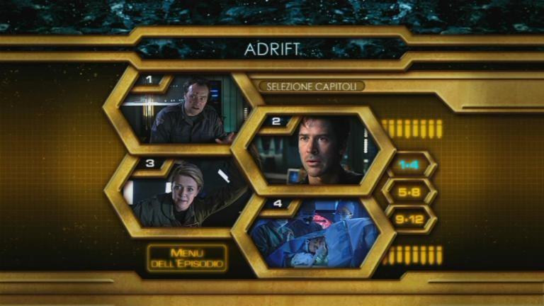 La schermata del menù della selezione capitoli del DVD di Stargate: Atlantis, quarta stagione