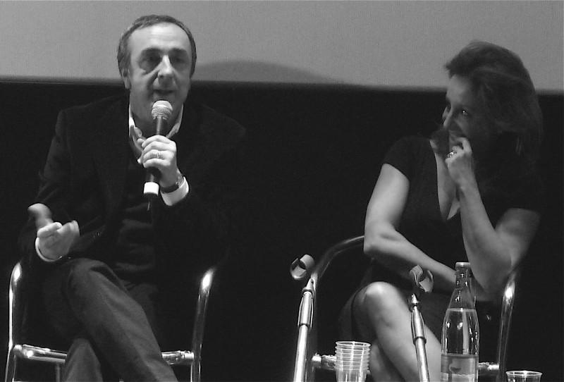 Carla Signoris e Silvio Orlando durante l'incontro con la stampa per il film Ex, di Fausto Brizzi (foto: Marilù Paguni)