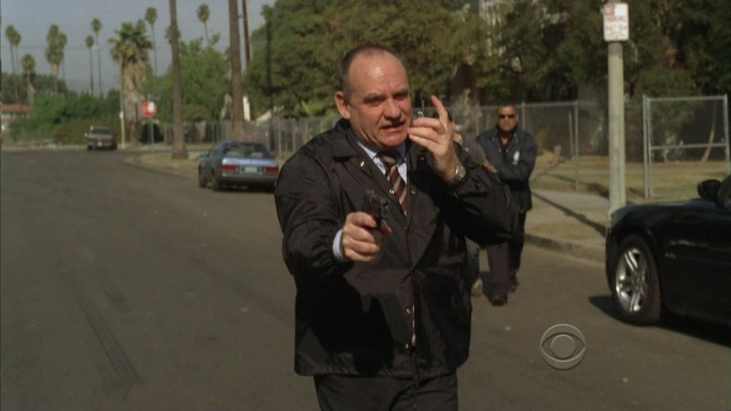 Paul Guilfoyle in una scena dell'episodio Disarmed and Dangerous di CSI