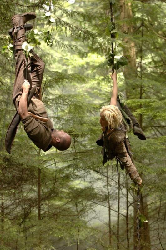 Jason Statham e Kristanna Loken in una foto scattata durante le riprese del film In the Name of the King