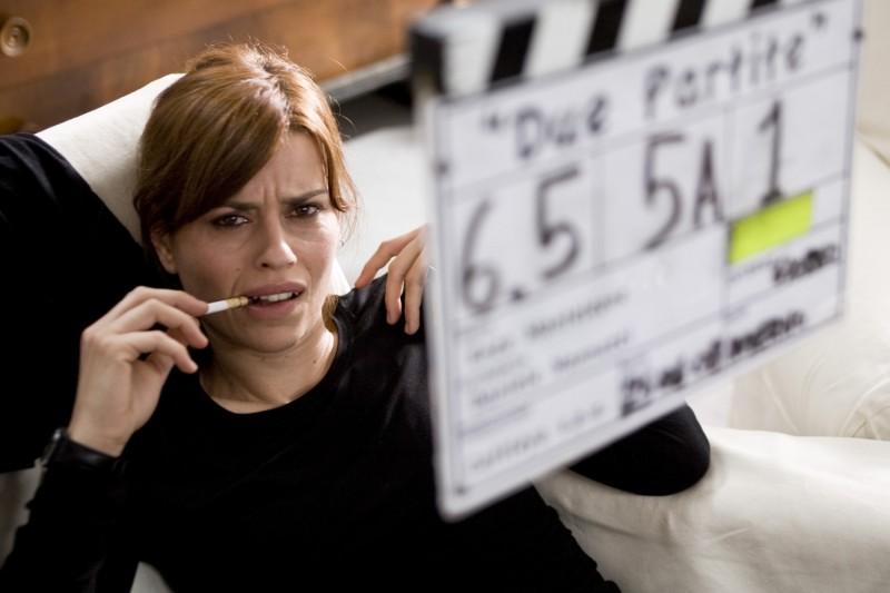Claudia Pandolfi sul set del film Due partite