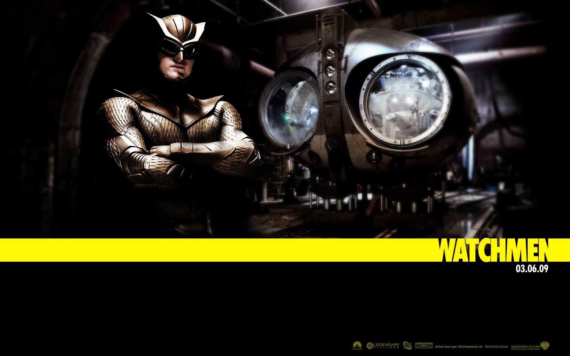 Un wallpaper del film Watchmen con Patrick WIlson nei panni di Gufo Notturno II