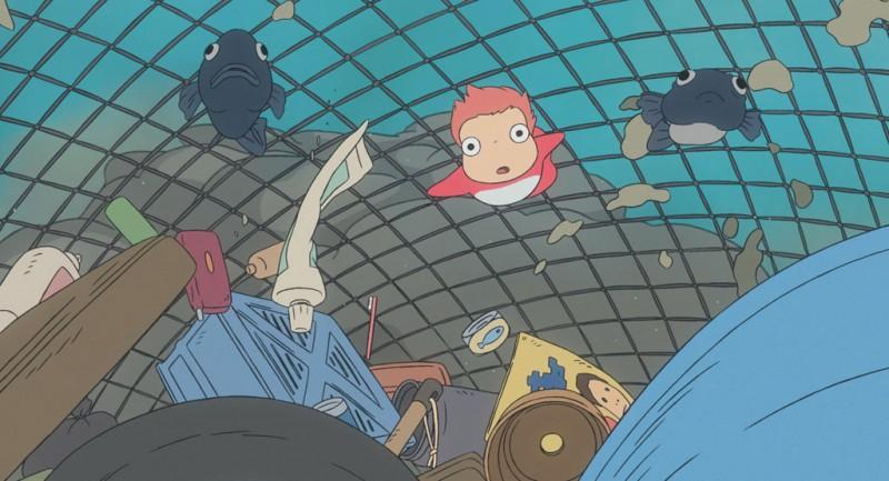 Un'immagine del film d'animazione Ponyo sulla scogliera
