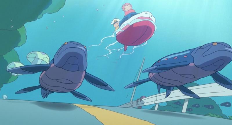 Una scena del film d'animazione Ponyo sulla scogliera