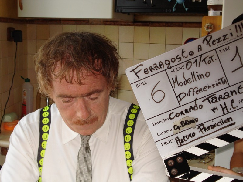 Corrado Taranto sul set del film Ferragosto a pezzi.