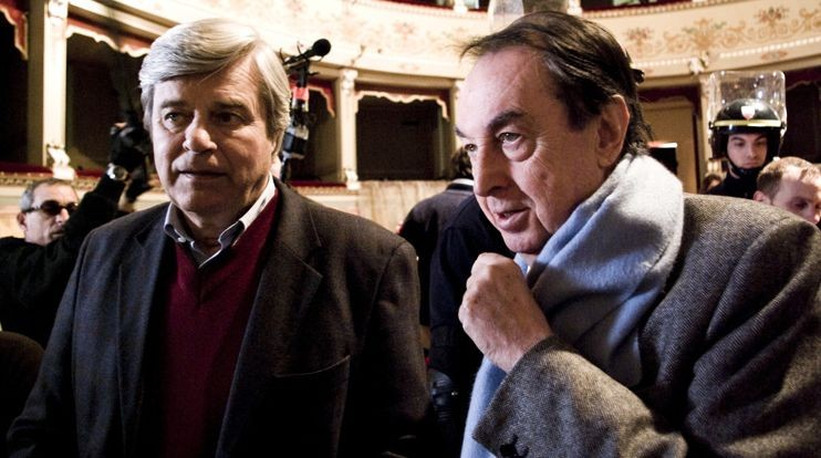 Jean Sorel e Maurizio Scaparro sul set del film L'ultimo Pulcinella