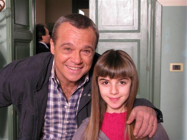 Angelica Cinquantini con Claudio Amendola sul set de I Cesaroni 3