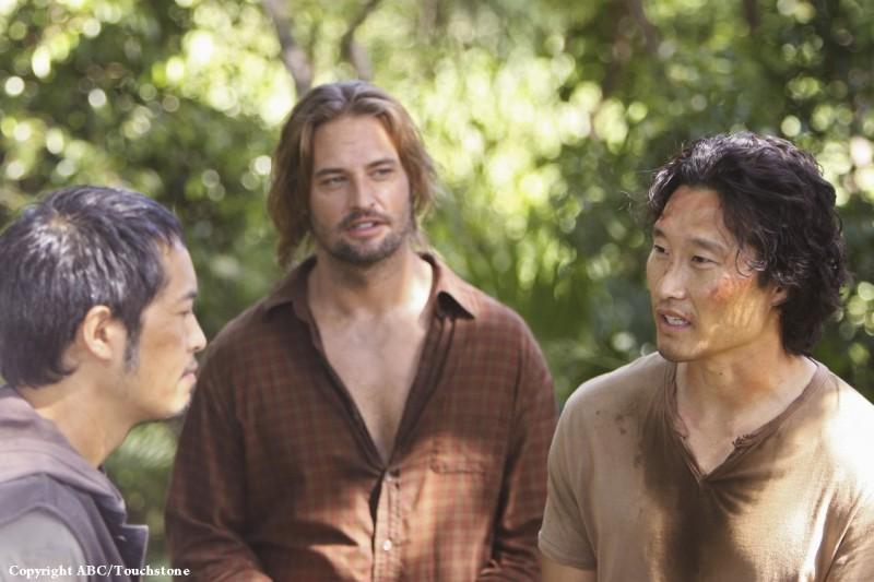 Josh Holloway, Ken Leung e Daniel Dae Kim nell'episodio LaFleur di Lost