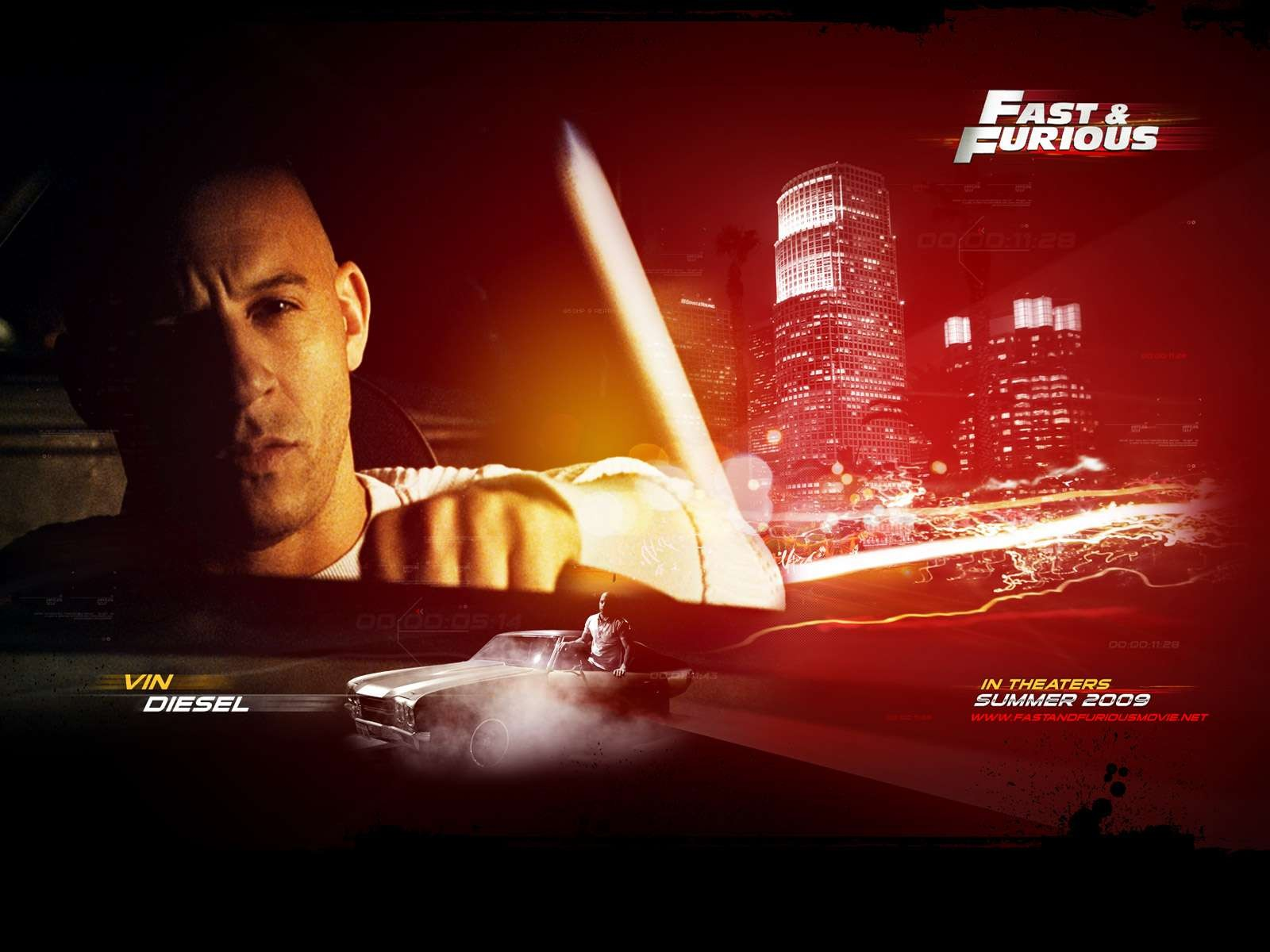 Un wallpaper del film Fast and Furious - Solo parti originali con Vin Diesel