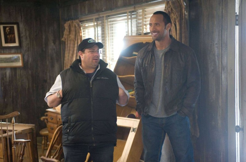 Il regista Andy Fickman e Dwayne Johnson sul set del film Corsa a Witch Mountain