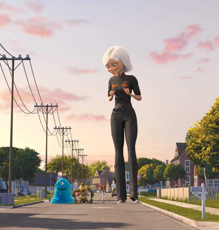 B.O.B., The Missing Link, il Dr. Cockroach e Ginormica in un'immagine del film d'animazione Mostri contro Alieni