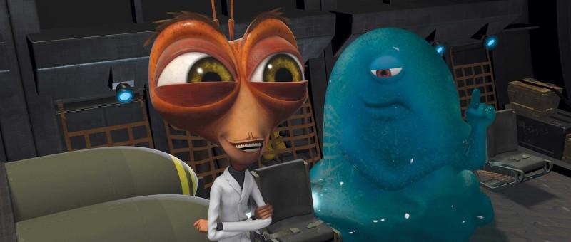 Il Dr. Cockroach e B.O.B. in un'immagine del film d'animazione Mostri contro Alieni