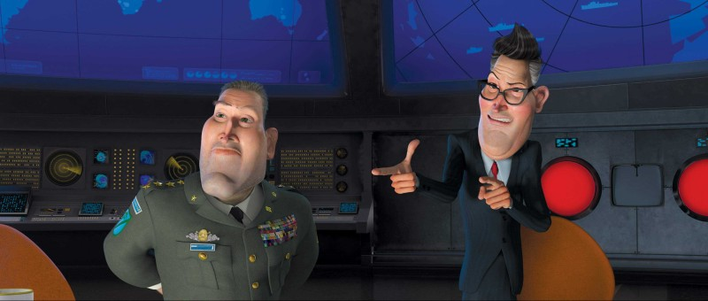 Il generale W.R. Monger spiega al Presidente la sua idea su come difendersi dall'attacco alieno in una scena del film Mostri contro Alieni