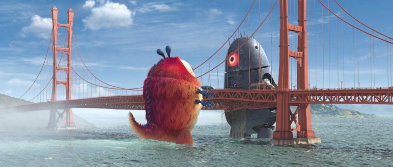 Insectosaurus contro un invasore alieno in un'immagine del film d'animazione Mostri contro Alieni