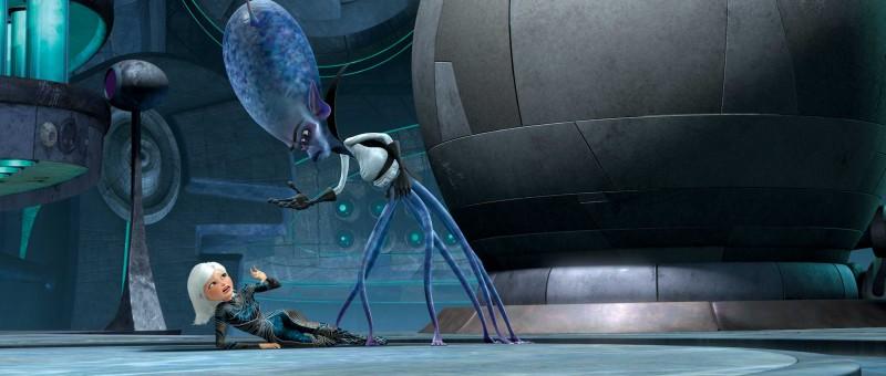 Susan Murphy attaccata da Gallaxhar in un'immagine del film d'animazione Mostri contro Alieni
