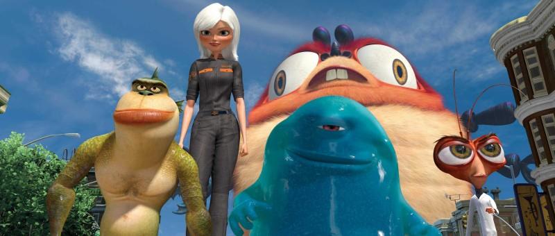 The Missing Link, Ginormica, B.O.B. e il Dr. Cockroach in un'immagine del film d'animazione Mostri contro Alieni