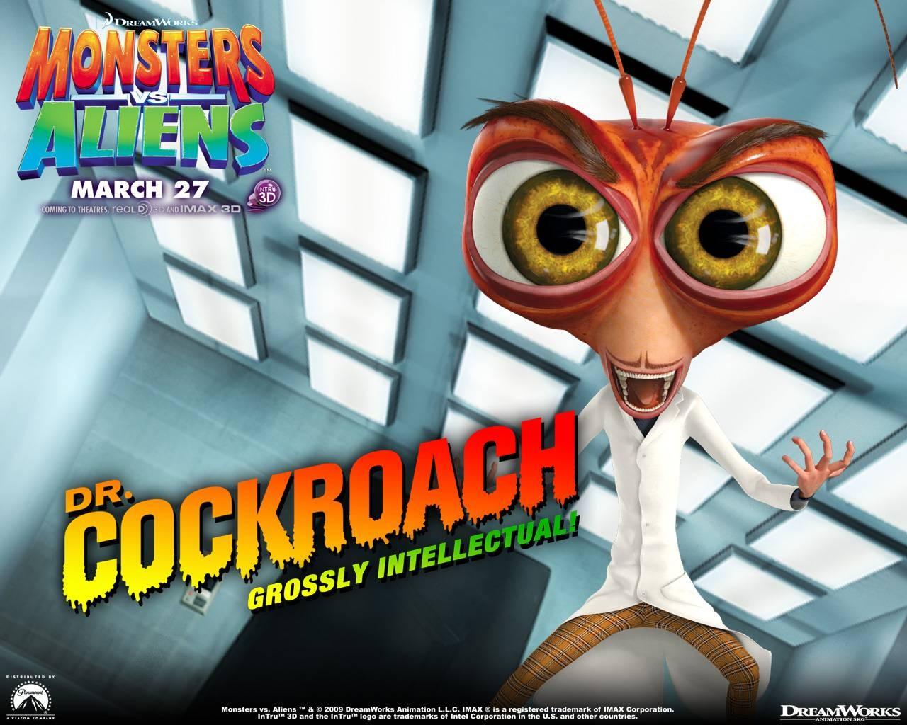 Un wallpaper del film d'animazione Mostri contro Alieni col Dr. Cockroach