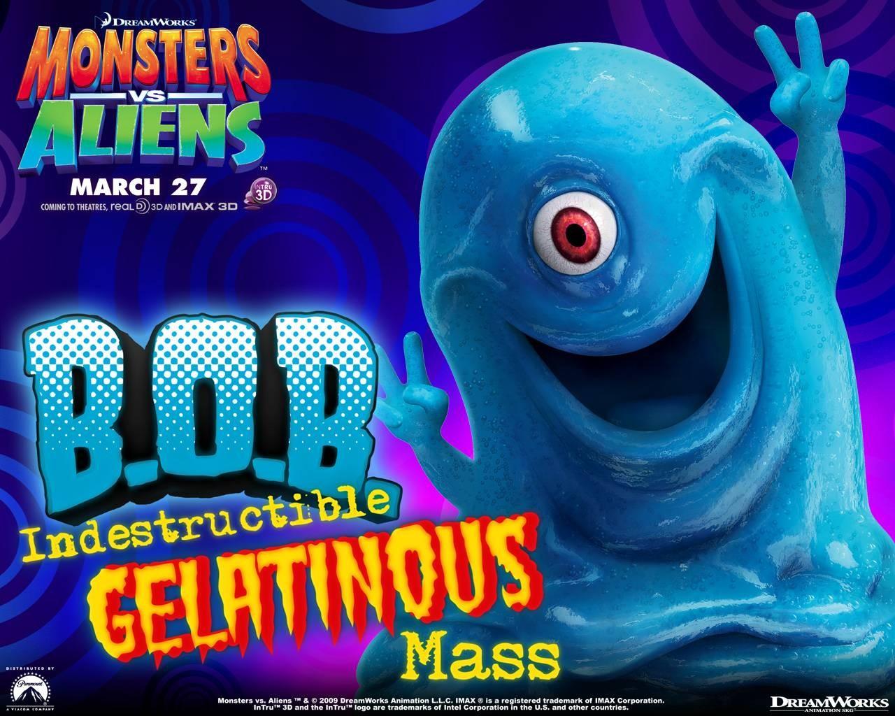 Un wallpaper del film d'animazione Mostri contro Alieni con B.O.B.