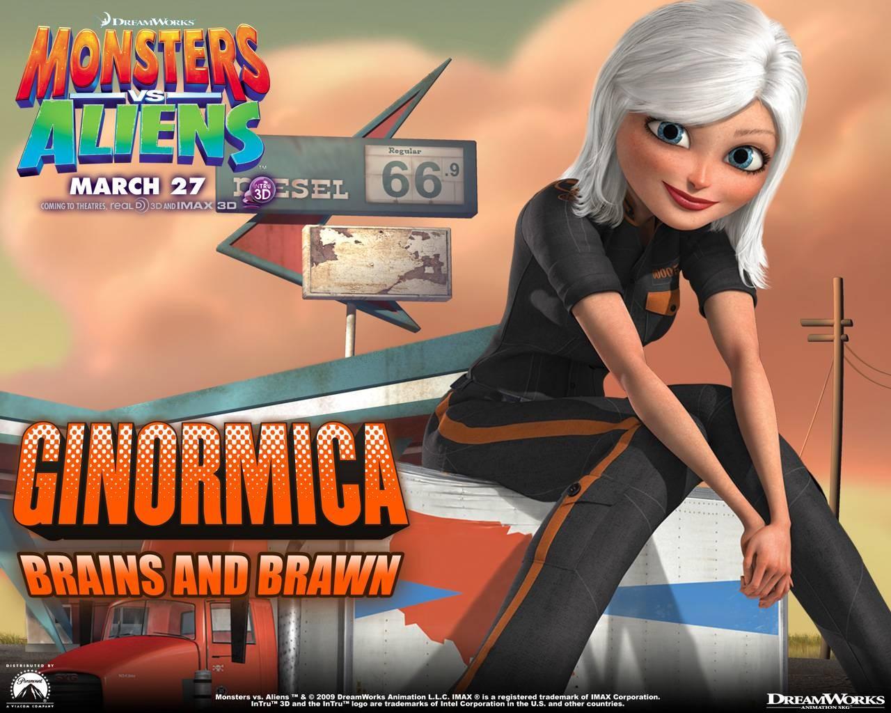 Un wallpaper del film d'animazione Mostri contro Alieni con Ginormica