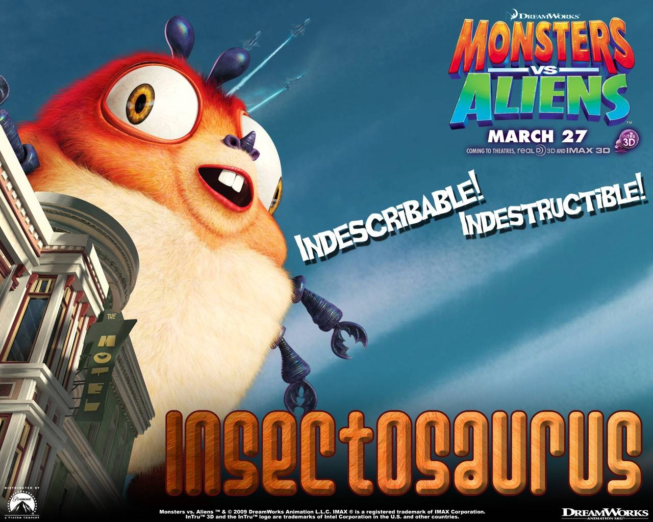 Un wallpaper del film d'animazione Mostri contro Alieni con Insectosaurus
