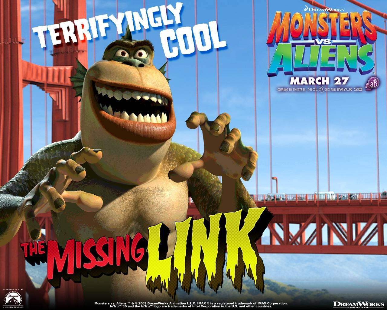 Un wallpaper del film d'animazione Mostri contro Alieni con The Missing Link
