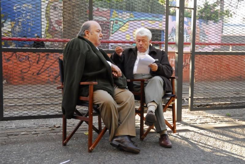 Lino Banfi e Lino Toffolo sul set del film tv Scusate il disturbo