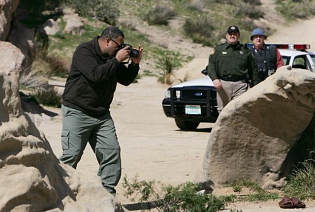 Laurence Fishburn nei panni del Dott. Langston in una scena dell'episodio 'The Descent of Man' della serie tv CSI - Las Vegas