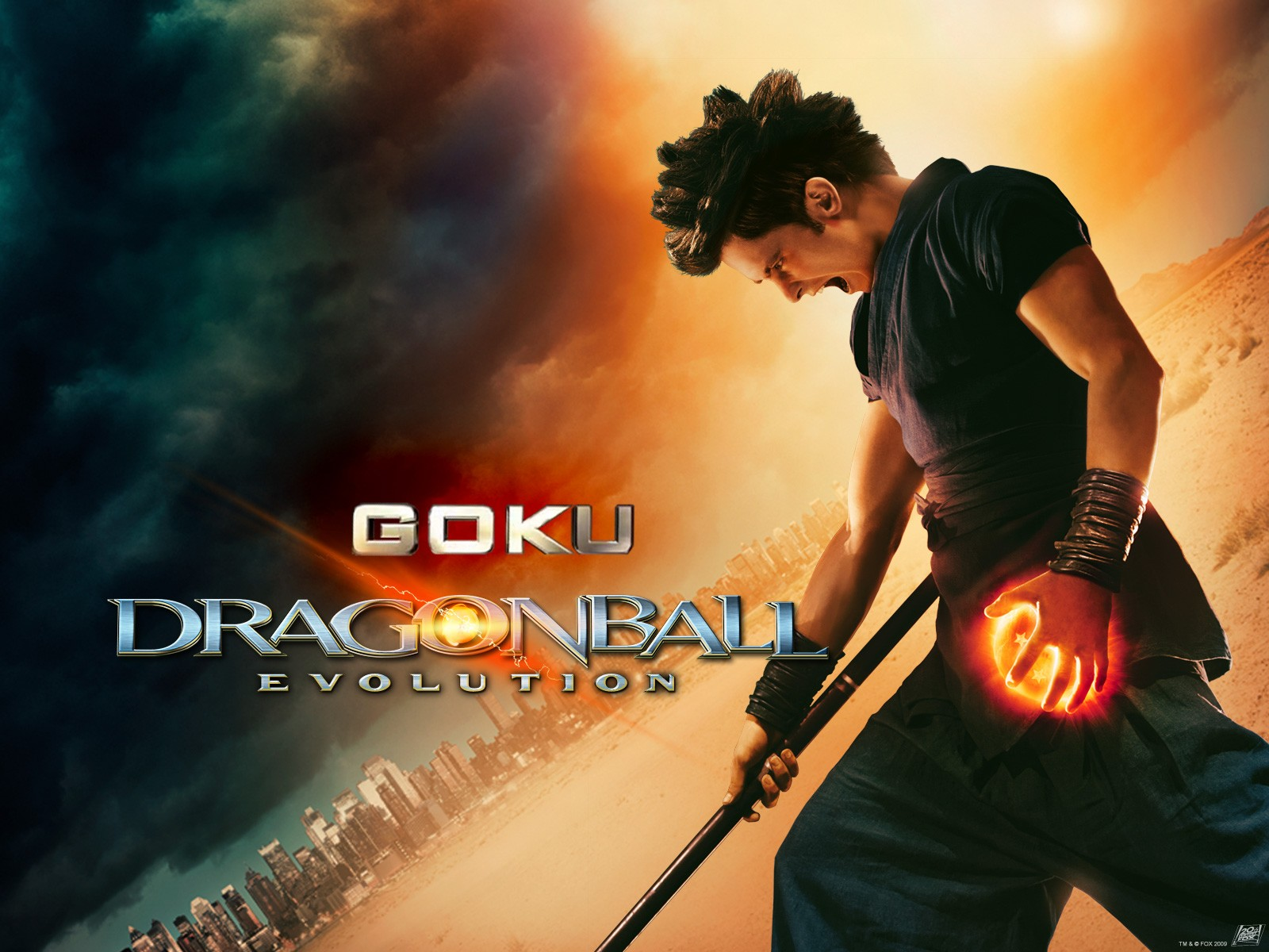 Wallpaper del film Dragonball con Justin Chatwin nei panni di Goku