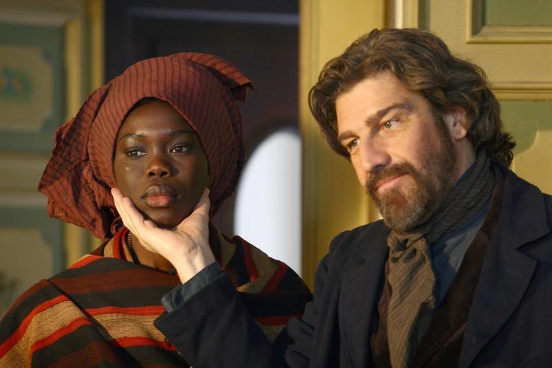 Fatou Kine Boye e Fabio Sartor nella fiction Bakhita